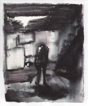 Loose Ink Painting of a Person in the Basement