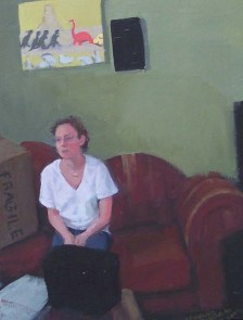 Clothed Woman on the Couch with Boxes