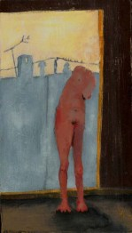 Standing female nude with no head or right breast; behind her there is a view of