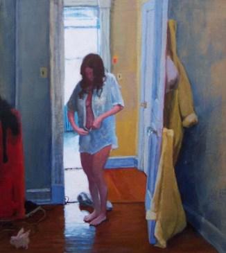 Woman undressing her shirt; no pants