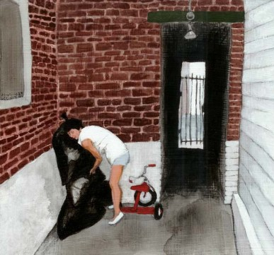 Woman taking out the trash in a side street with a tricycle