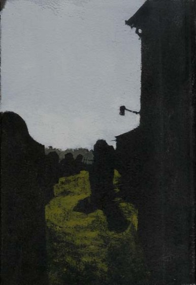 View of a graveyards with silhouettes of stones