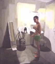 Half-Naked Man in Bathroom