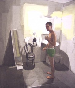 Half-Naked Man in Bathroom