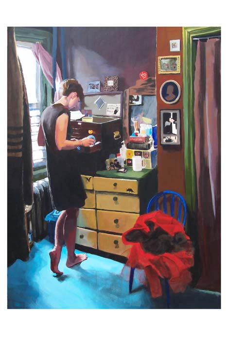 Woman searching in a drawer