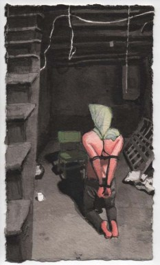 Kneeling Man Tied Up in the Basement with a Bag Over His Head