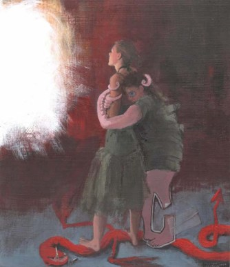 Scared person with tentacles hugging a girl staring at a light