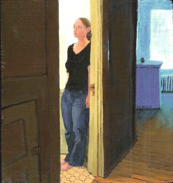Woman Hiding Behind a Door