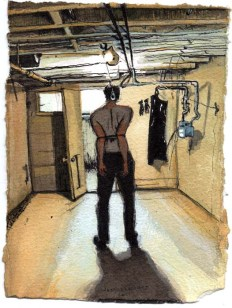 Standing Man With Pants Tied Up in Basement