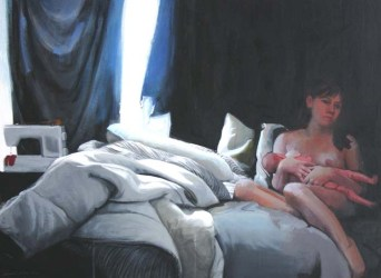 Nude woman holding a baby on a bed