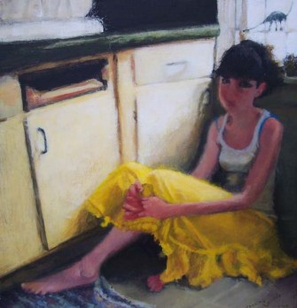 Woman in a skirt lying on the floor