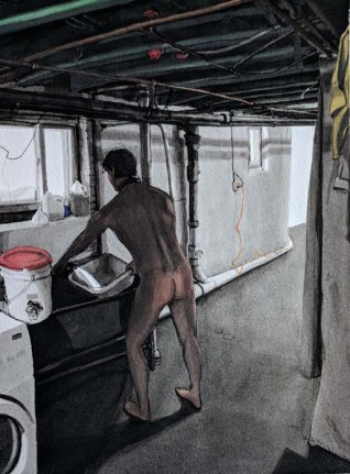 Naked Man Filling a Tub in the Basement