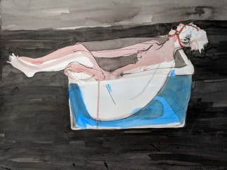 Naked Woman with a Ball Gag Inside a Plastic Tub Filled with Water