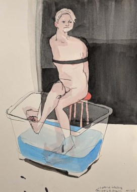 Person Tied up with Feet in a Plastic Tub Filled with Water