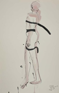 Standing Nude Tied Up with Belts