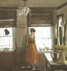 Woman in a Dress next to Windows