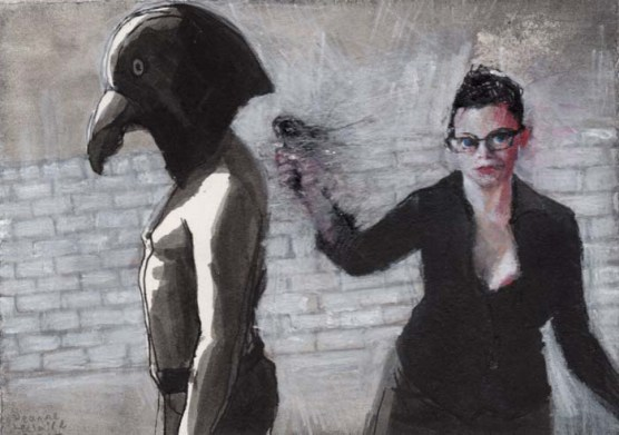 Clothed Woman with Glasses Holding a Blurred Object Behind Shirtless Man with a Bird Mask