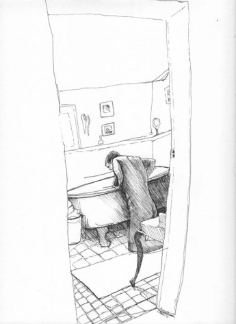 Man Kneeling in Front of a Tub