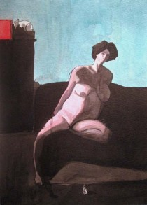 Nude pregnant woman on a sofa