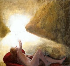 Nude woman on a sofa turning off a light