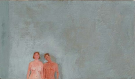Jeanine and Anthony nude in front of a blue grey wall