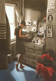 Clothed Woman Looking Through Drawer
