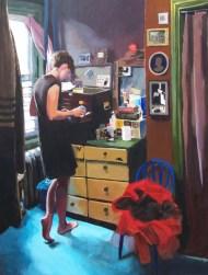 Woman searching through drawers