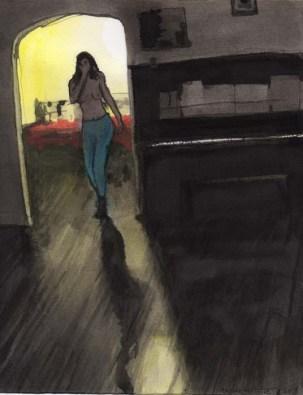 Topless Woman Walking into Livingroom