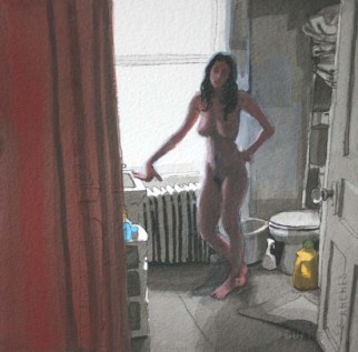 Nude standing woman in the bathroom