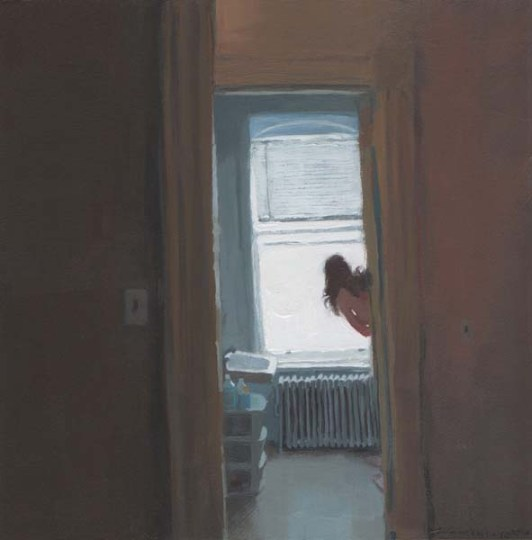 View of bathroom with woman
