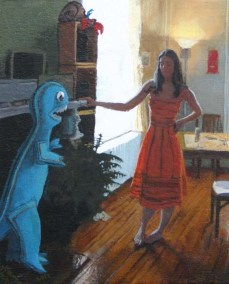 Woman Facing a Monster Cut out in her House