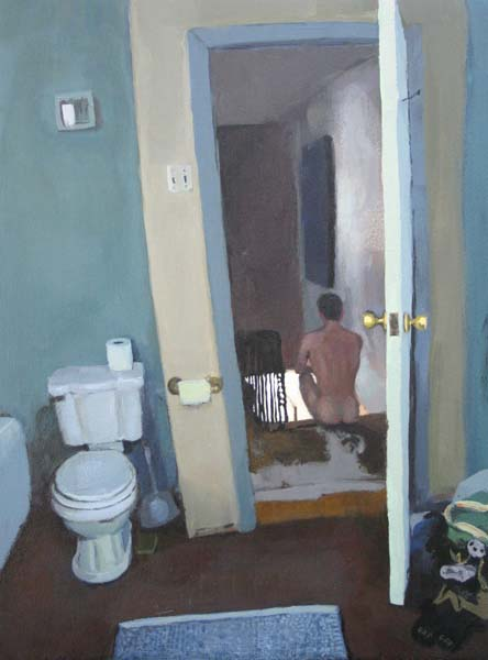 View out of the bathroom with a naked man in the stairwell