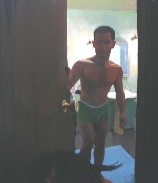 Man in green underwear kicking dog out
