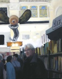 White man in a library