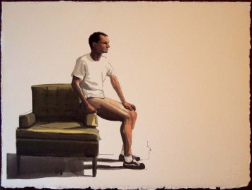 Man with a Shirt, No Pants, Sitting on the Edge of a Chair