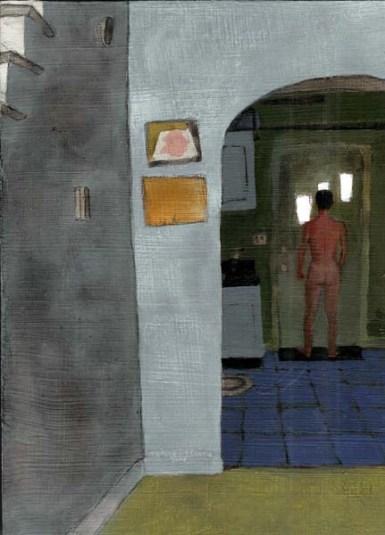 Naked man looking outside door