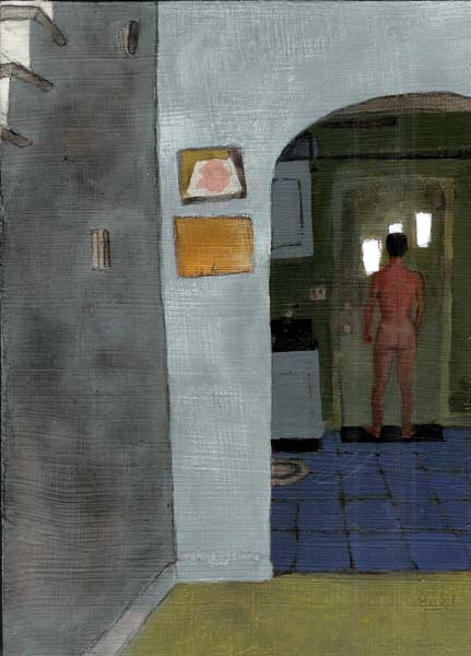 Naked man looking outside door