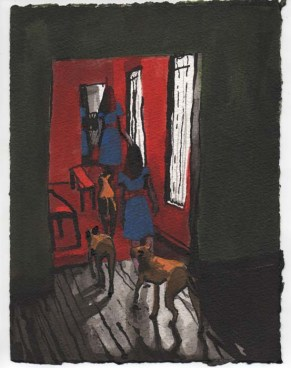 Woman in Blue Dress Walking with Dogs into a Red Room