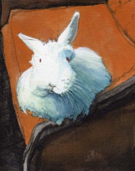 White Bunny Sitting on a Red Couch