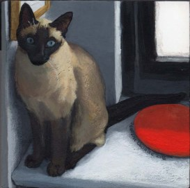 acrylic painting of a siamese cat