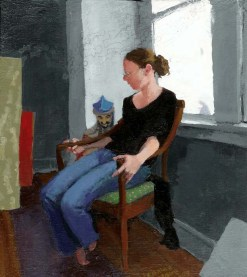 Woman lying in a chair