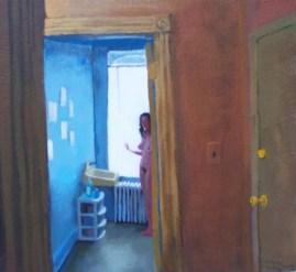 Nude standing woman in bathroom