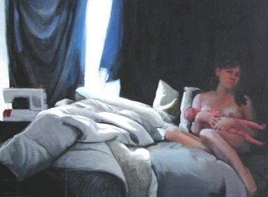 A Nude Woman on a Bed Breastfeeding