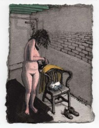 Naked Standing Woman Looking at Chair