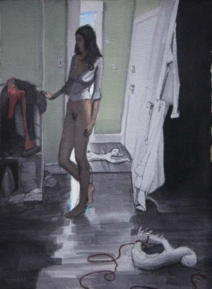 Standing Half Naked Woman with a Tied Up Doll on the Floor