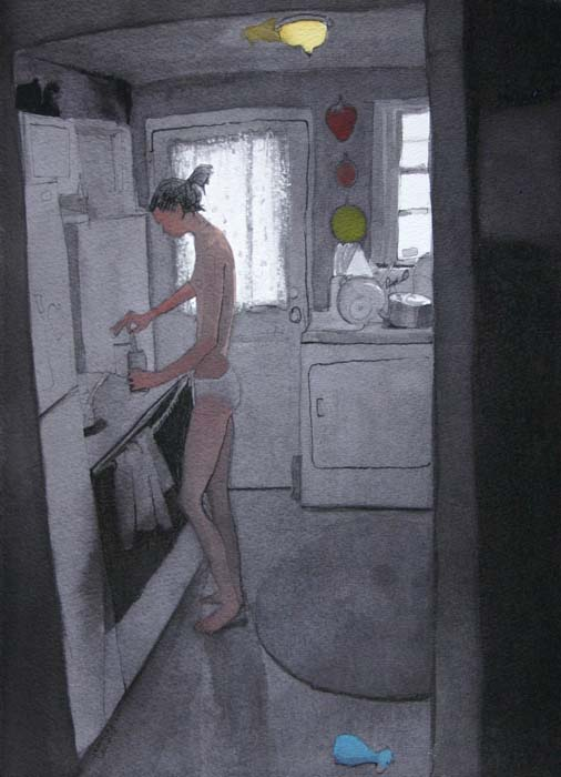 Woman in Underwear Standing in Kitchen