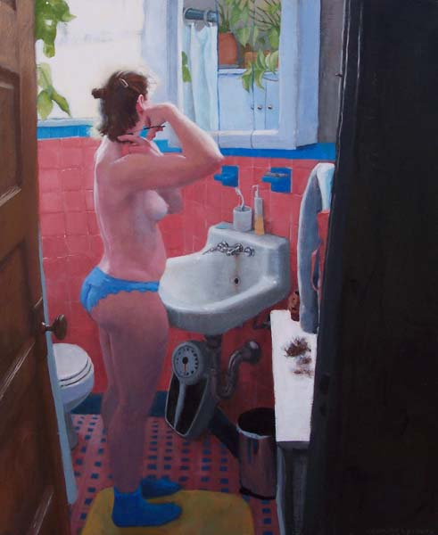 Standing woman in panties and socks in the bathroom staring at mirror