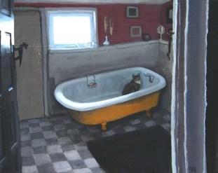 Cat in a Bathroom Tub