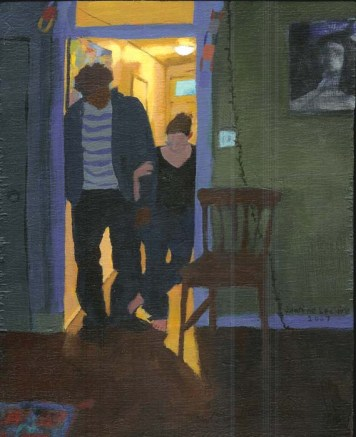 Clothed Man and Woman in Hallway