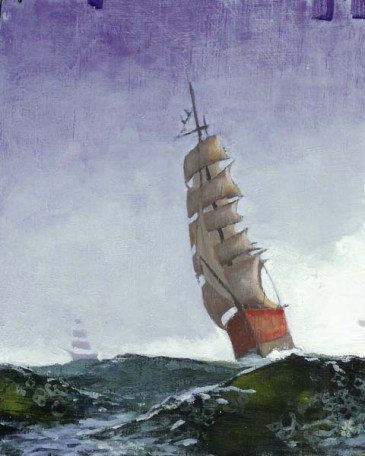Ship in a stormy sea; second ship in the background